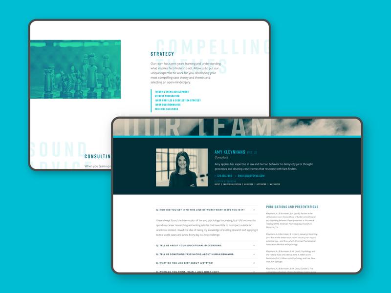 JurySync Interior Pages about page team website product design web web design court law jury jurysync litigation