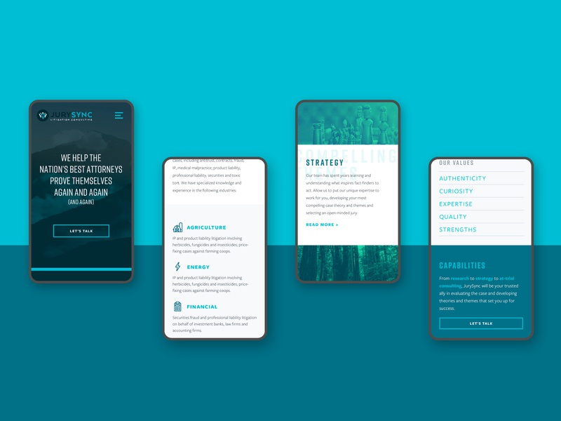 JurySync Mobile services homepage web design product design website mobile web jurysync jury attorney court law litigation