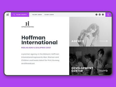 Hoffman International homepage product design website web web design talent agency modeling model