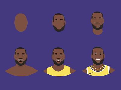 Lebron James Illustration Process sports purple vector basketball nba losangeleslakers losangeles lalakers lakers la kingjames lebronjames lebron illustration