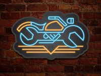 Motorcycle Mechanic Logo Neon Study