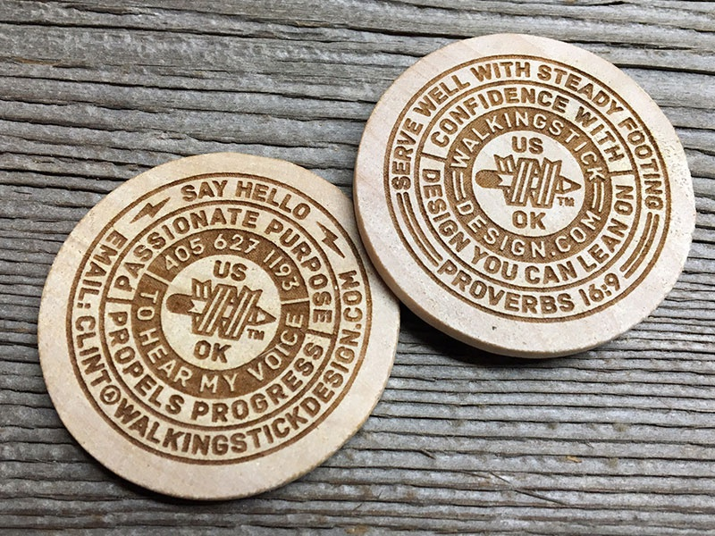 Wdc wood coin by w a l k i n g s t i c k dribbble can not wait for my new business cards to arrive these are 125 round laser etched wood coins d colourmoves