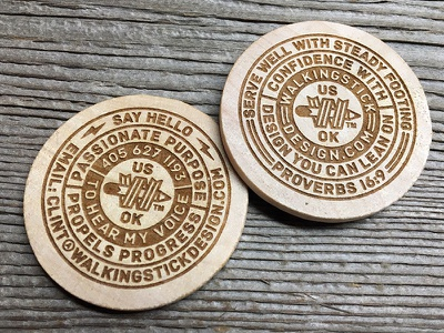 Wdc Wood Coin woodcoin laser etched wood oklahoma ok monowidth thicklines