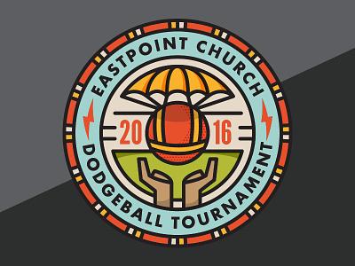 Dodgeball Tournament monowidth minimal mark logo sticker thicklines