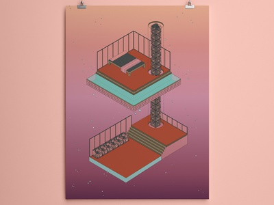 Dreamy Isometric World flora world dreamy graphic design serene architecture sanctuary isometric illustration