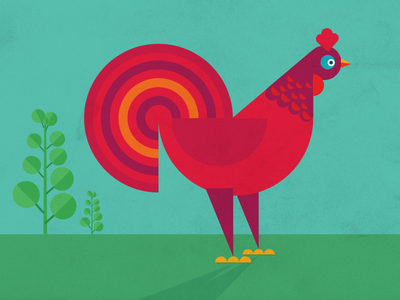 Geometric Rooster - Weekend Illustration geometric bird cock vector rooster shapes illustration
