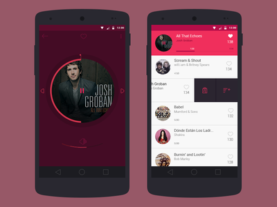 Music App add to playlist music ux ui material design android app music app