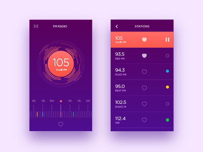 Radio UI list music player music tuner fm radio radio radio ui