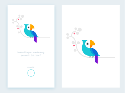 Invite App Screen add illustration parrot invite screen chat app