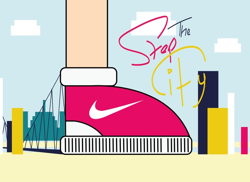 Step The City campaign design branding illustration art illustrator shoes nike shoes nike city