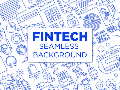 Fintech Seamless Tiling Illustration Kit tiling background bitcoin crypto profit bank investment app asset investments money finance app finances investment accounting currency finance outline icons line fintech