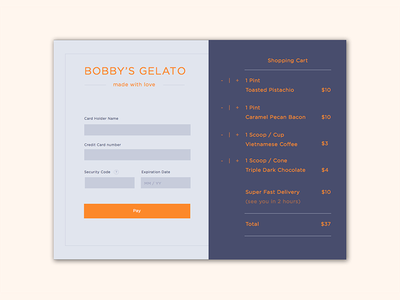 Credit Card Checkout checkout payment creditcard gelato foodui dailyui 002