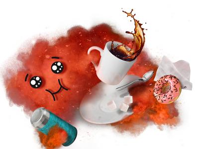 Coffee Rush photoshop illustration