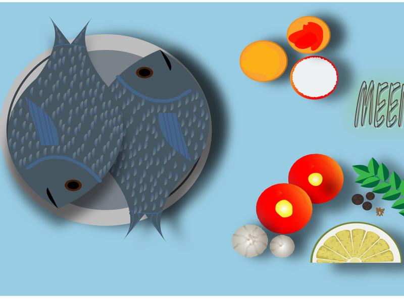 Fish Curry branding logo drawing nature vector art design vector illustration karthickyuvan