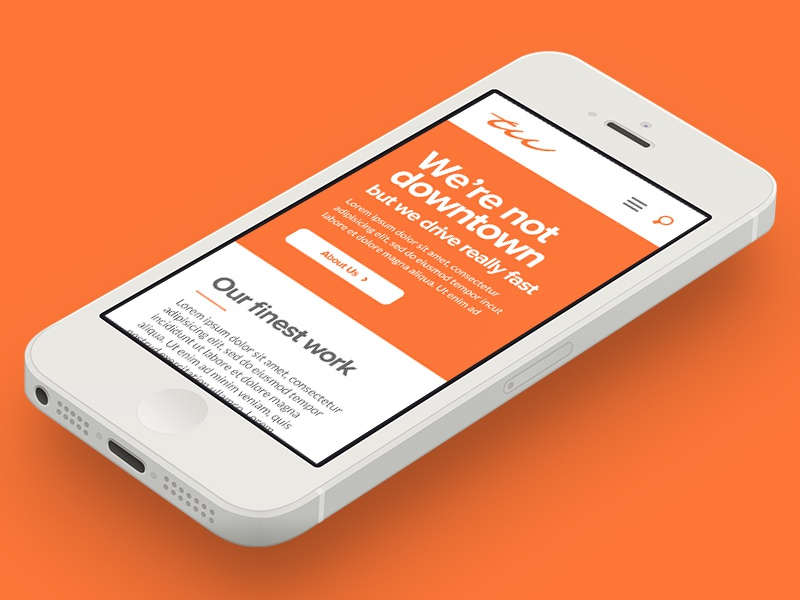 Thrillworks Mobile mock up website redesign folio agency portfolio orange mobile
