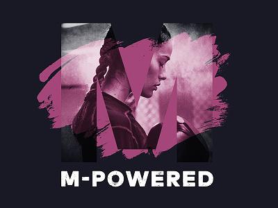 M Powered logo design typography