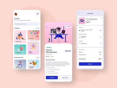 Course Buy Checkout daily ui challenge dailyui002 002 dailyui ux 3d pink blue mobile mobile design app design app e-learning buy course course ui flat vector illustration design