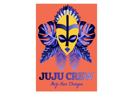 juju crew logo for an afrocentric fashion outfit flat vector branding illustration design