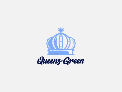 All Rise! brand identity logo leaf cannabis california word mark hand lettering script lettering crown green queen