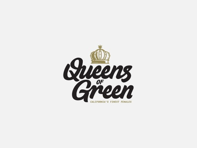 Queens of Green Final... I think brand identity logo leaf cannabis california word mark hand lettering script lettering crown green queen