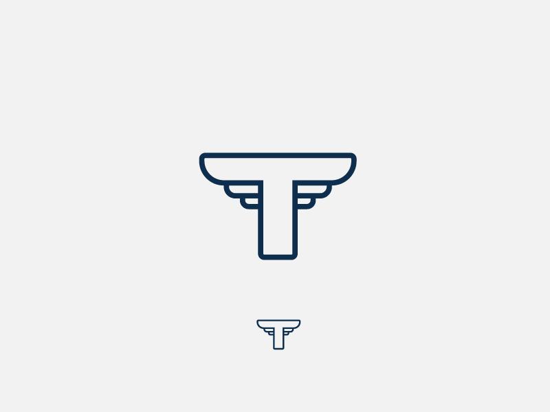 Final Mark branding navy auto wings t letter t logo type lettering