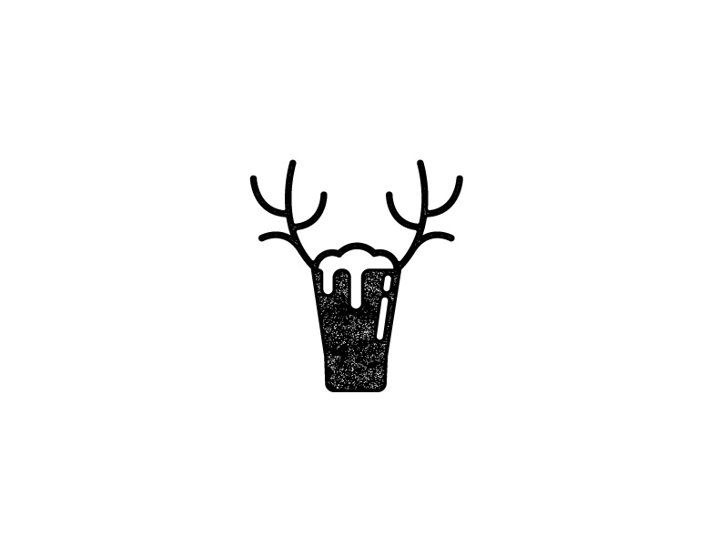 Craft Deer antlers texture logo brand identity illustration deer beer