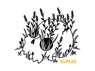 Sleep when you're dead. brand hand drawn flowers print lowbrow illustration tee shirt skull