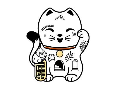 Lucky Cat streetwear tattoo sleepless graphic tee illustration lucky cat