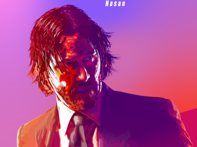 John Wick Portrait Poster actors hero action digital painting digital art portrait art portrait vector art vector illustration vectorart vector illustration art illustration adobe illustrator actor hollywood movie keanu reeves keanu john wick