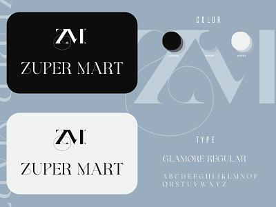Zuper Mart Logo style white black glamour clothing logo store logo shop logo modern lettermark wordmark logo design serif clothing fashion