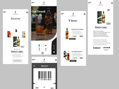 Mobile design of an whiskey brand#Johnnie Walker minimal web ui branding design
