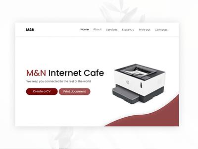 landing page for an Internet cafe website