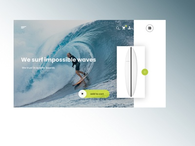 landing page for a surfing boards website