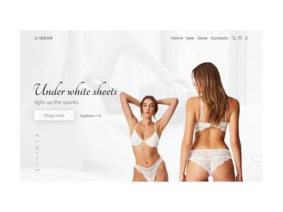 Second shot of U-wear website minimal ux ui web design