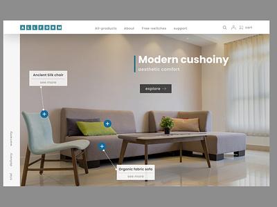 Allform landing page design. website design branding design ux web design ui web minimal minimaldesign websitedesign website allform sofawebsite sofa uidesign uiux