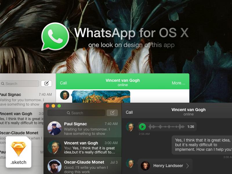 WhatsApp for OS X design whatsapp mac apple messenger design app application freebie sketch os x