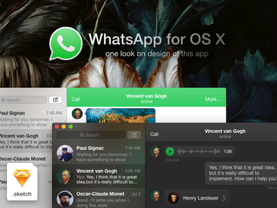 WhatsApp for OS X design whatsapp mac apple messenger design app application freebie sketch os x