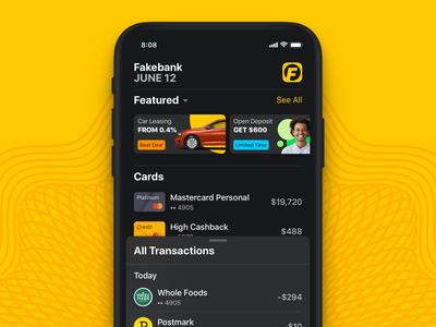Home Screen cards apple sketch app banking ios