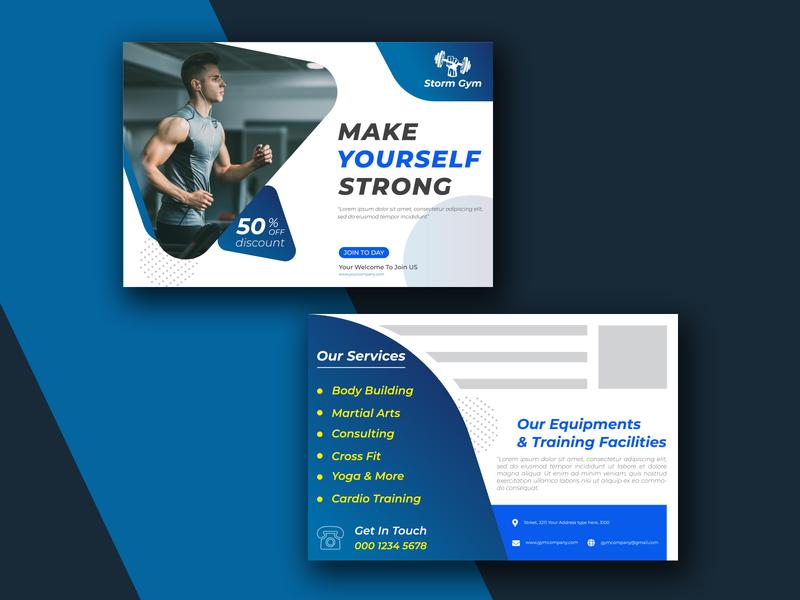 Postcard Design Template yoga training studio sports postcard sports rumba postcard post martial arts postcard martial arts marketing mail health gym postcard corporate creative digital logo ui