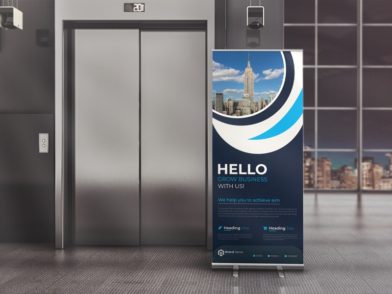 Roll up banner Template banners blue template signage rollup template rollup roll-up stand roll-up pullup pull-up promotional promotion professional outdoor signage outdoor banner outdoor roll-up banner branding business creative