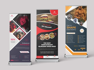 Unique  retractable  roll up banner brochure logo banner banner ads banner design rollup banner print ready design branding clean corporate creative