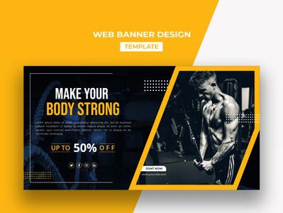 Web Banner Design Template ux clean fitness center fitness club gym ui template design branding creative social media design ui design webdesign