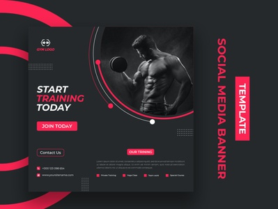 Social Media Banner Design Template marketing clean creative ux template design branding business ui gymclub fitness