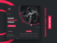 Social Media Banner Design Template marketing clean creative ux template design branding business ui gymclub fitness