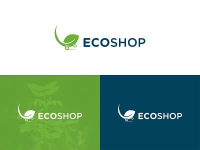Eco-Shop Logo Design clean vector creative logo identity branding leaf simple logo logo design green identity graphic design brand design clean logo visual identity organic modern logo modern eco