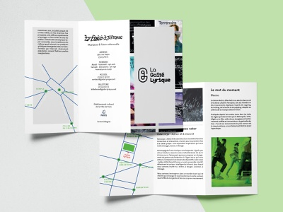 Brochure for la Gaité Lyrique mockup graphic design vector typography design
