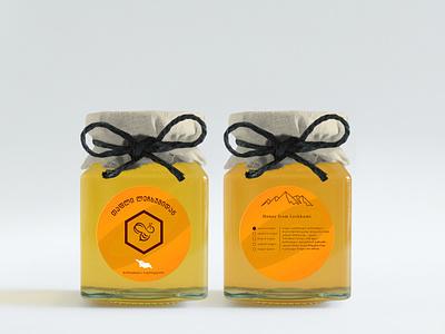 Honey from Lechkhumi etiquette logo design honey