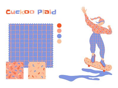 CUCKOO PLAID urban streetwear yulia kuzubova design skate kidult flat vector concept fashion illustration repeat print surface floral print on demand pattern licensing minimalist design pattern pattern design