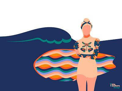 TROPICAL DREAMS PATTERN COLLECTION girl female bikini apparel beach collection fashion swimwear surfing textile fabric print surface minimalist illustration print on demand pattern design pattern licensing pattern design