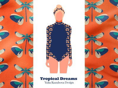 Jungle Dance Print Long Sleeve Surfsuit overall textile fabric concept fashion nature collection summer beach apparel surfing print surface illustration print on demand pattern licensing minimalist design pattern pattern design